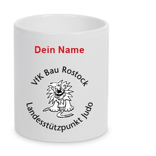 "VfK ""Bau"" Rostock 94 - Keramiktasse LENA mit Name weiß"